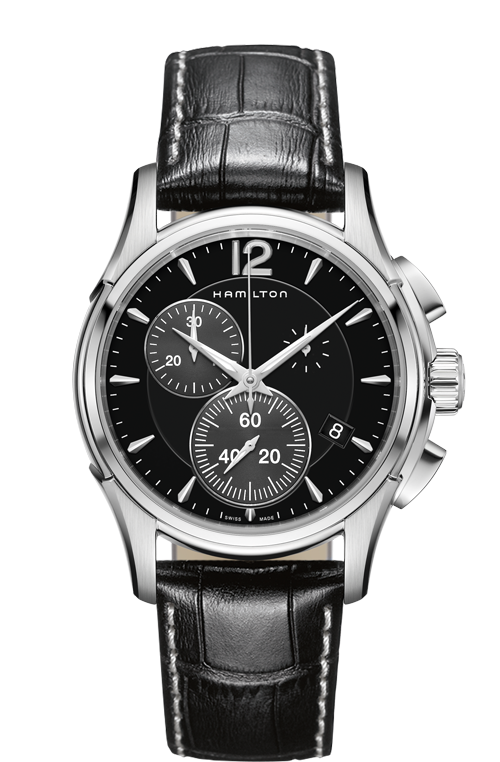 Hamilton 'Jazzmaster Chrono Quartz' 42mm Watch with Black Dial