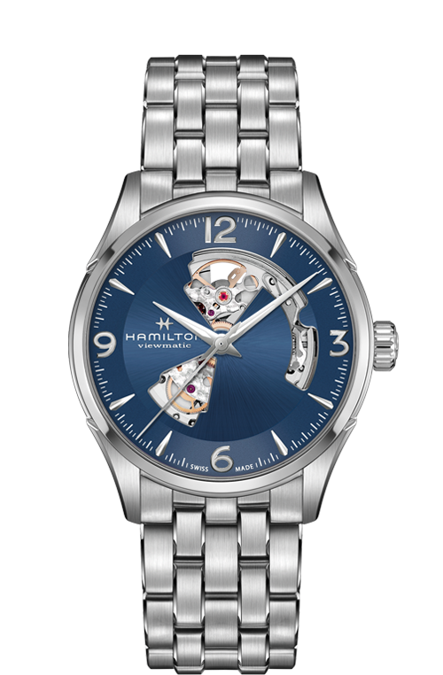 Hamilton 'Jazzmaster Open Heart' 42mm Watch with Blue Dial