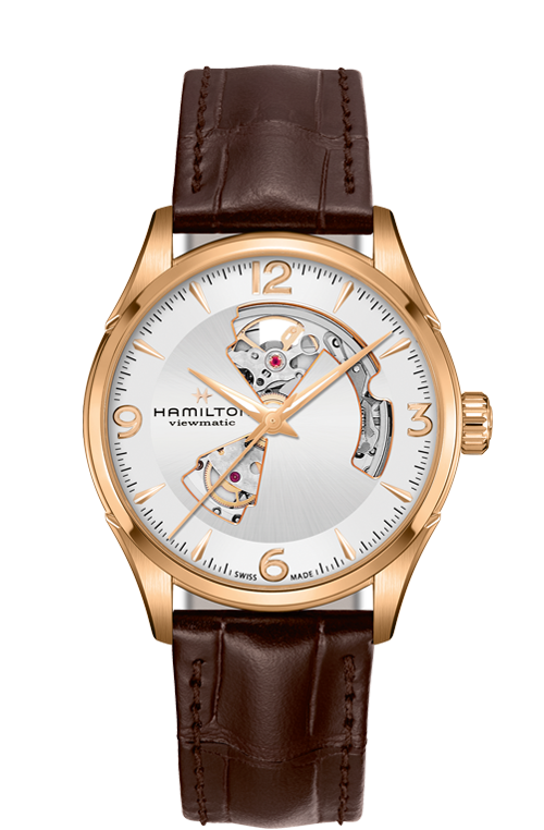 Hamilton 'Jazzmaster Open Heart' 42mm Watch with Silver Dial