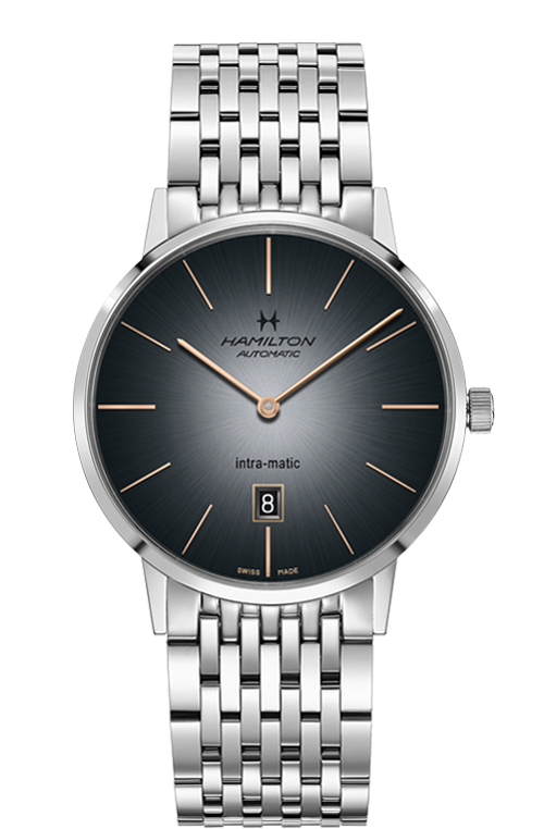 Hamilton 'Intra-matic' 42mm Watch with Grey Dial