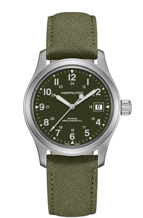 Hamilton 'Khaki Field' Mechanical 38mm Watch with Green Dial