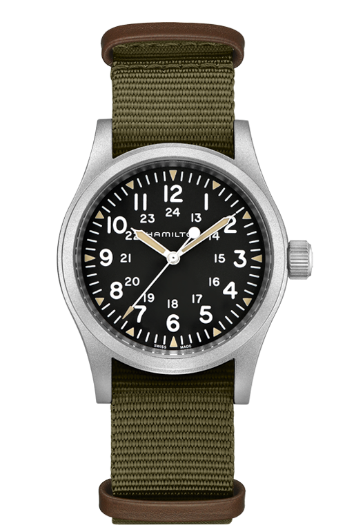Hamilton 'Khaki Field' Mechanical 38mm Watch with Black Dial