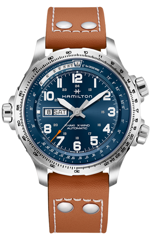 Hamilton 'Khaki X-Wind Day Date Auto' 45mm Watch with Blue Dial