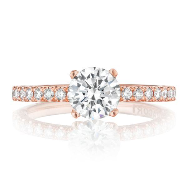 Tacori Petite Crescent 14k Rose Gold Round Semi-mount Engagement Ring