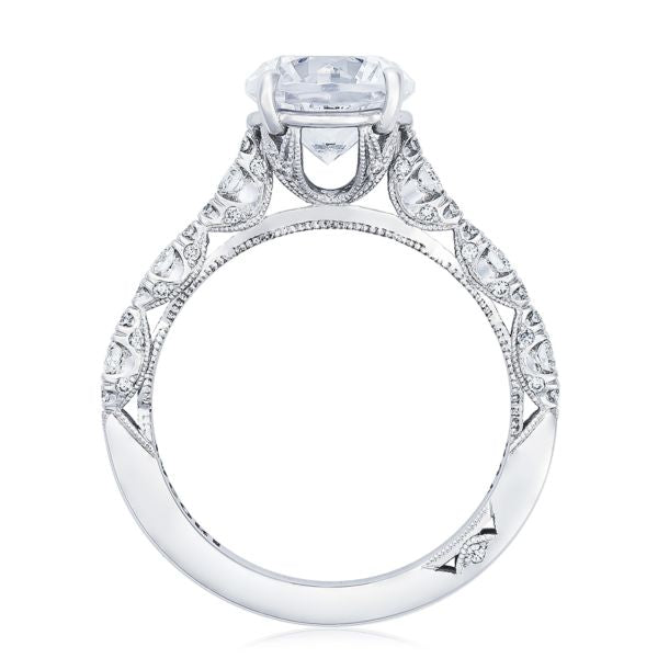 Tacori Petite Crescent 18k White Gold Engagement Ring with Side Diamonds