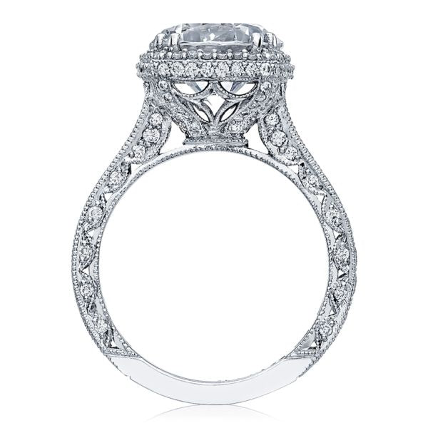 Tacori RoyalT Platinum Cushion Halo Engagement Ring