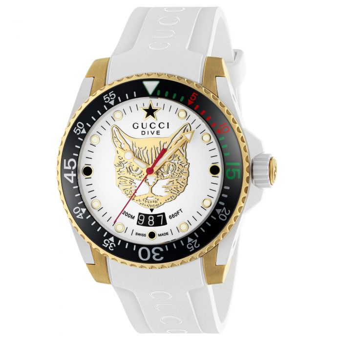 Gucci Dive 40mm Watch with White Feline Motif Dial