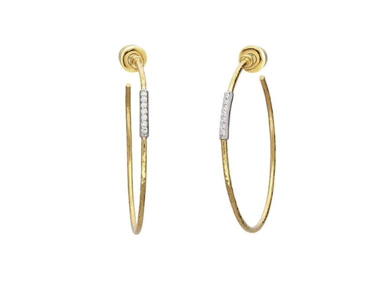 Gurhan Large Yellow Gold Geo Hoop Earrings with Diamonds