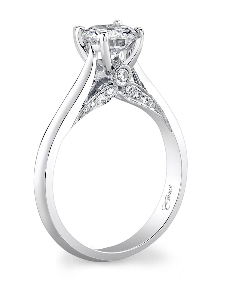 White 14 Karat Semi Mount Ring With Round Diamonds In Gallery