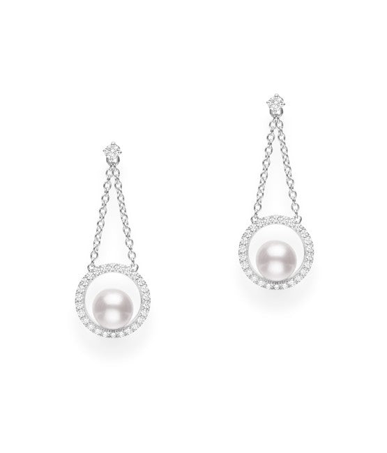 Mikimoto Halo Drop Earrings with Akoya Pearls and Diamonds