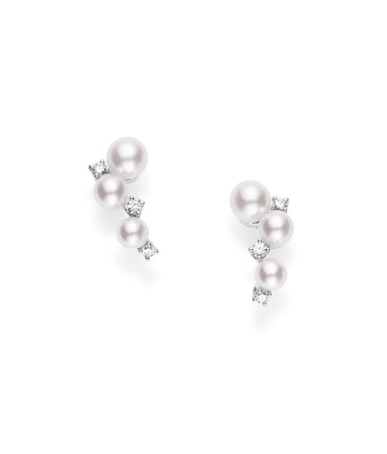 Mikimoto 18k White Gold Bubbles Earrings with Pearls and Diamonds