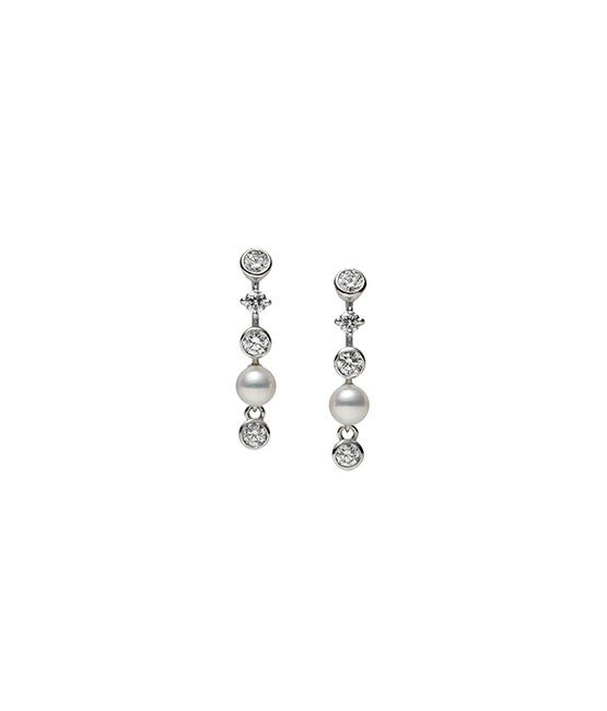 Mikimoto Akoya Pearl and Diamond Drop Earrings