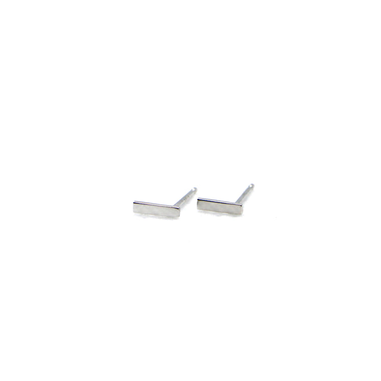 Hand Made 14k White Gold Mini Bar Stud Earrings