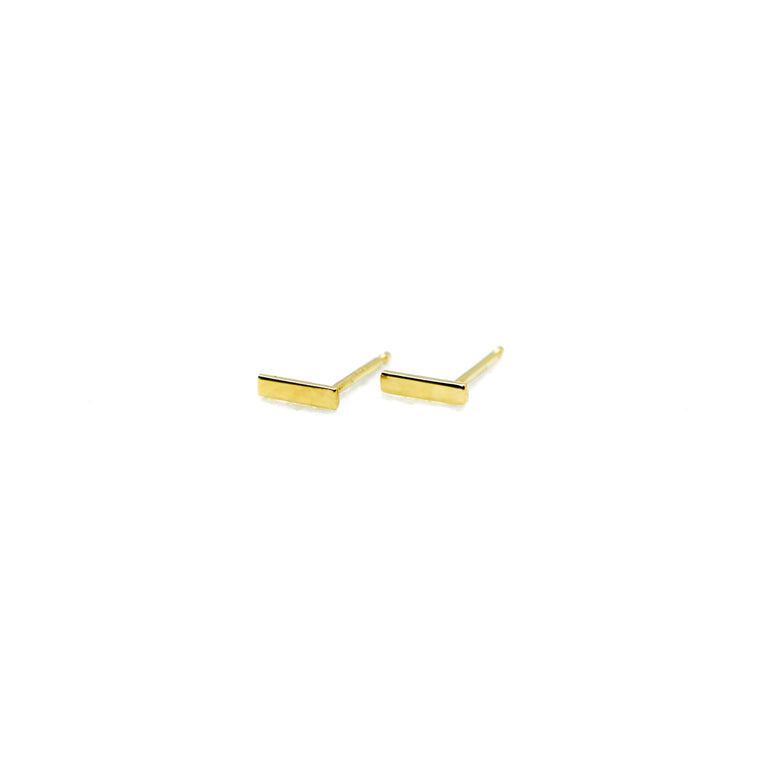 Hand Made 14k Yellow Gold Mini Bar Stud Earrings