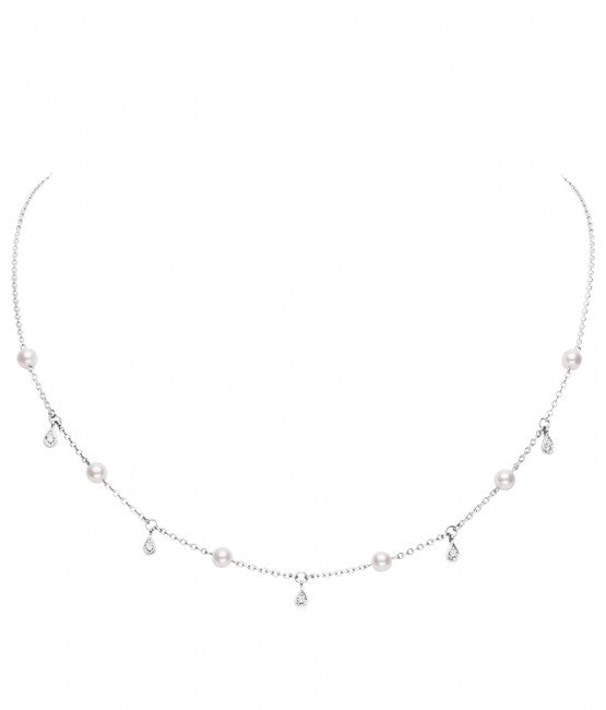 Mikimoto Akoya Pearl and Diamond Necklace