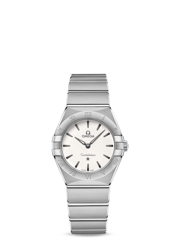 Omega 'Constellation Manhattan Quartz' 28mm Watch with White Dial