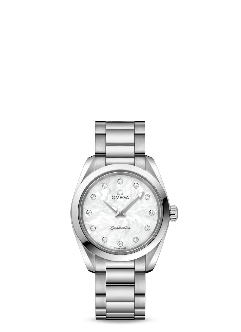 Omega 'Seamaster Aqua Terra' 28mm Watch with White Mother of Pearl Dial