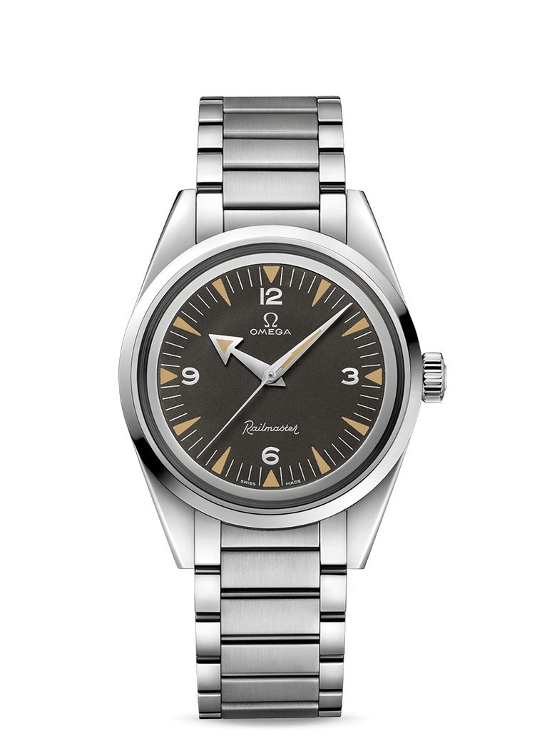 Omega Railmaster Co-Axial 38mm Watch with Black Dial
