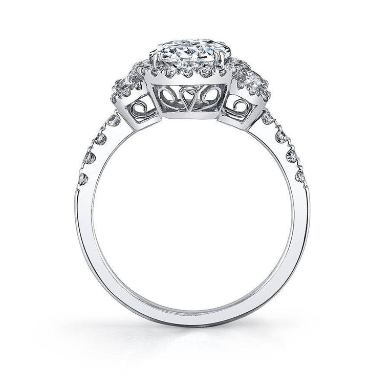 Sylvie Adeline 14k White Gold Three-Stone Engagement Ring