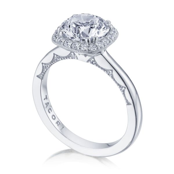 Tacori Coastal Crescent Cushion Shaped Halo Engagement Ring