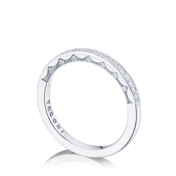 Tacori Coastal Crescent Wedding Band with Diamonds and Milgrain Edging