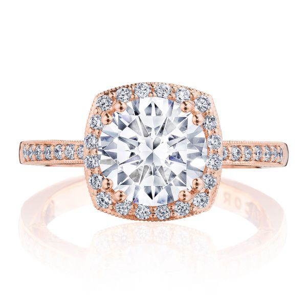 Tacori 'Coastal Crescent' Rose Gold Engagement Ring with Cushion Halo