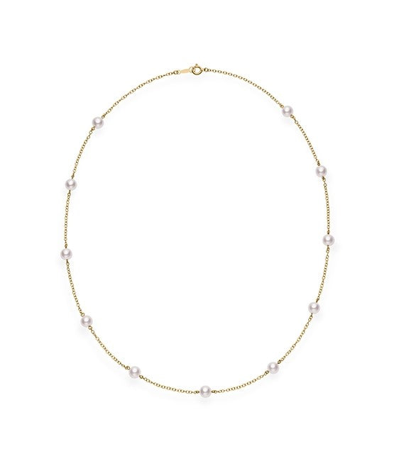 Mikimoto 'Tin Cup' Pearl Station Necklace