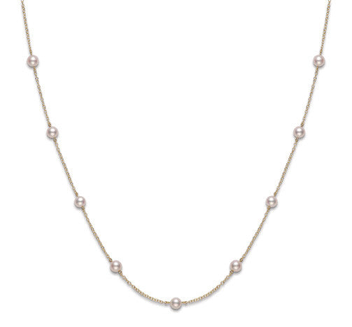 "Mikimoto 18 karat yellow gold 5.50mm ""Tin Cup"" pearl necklace"
