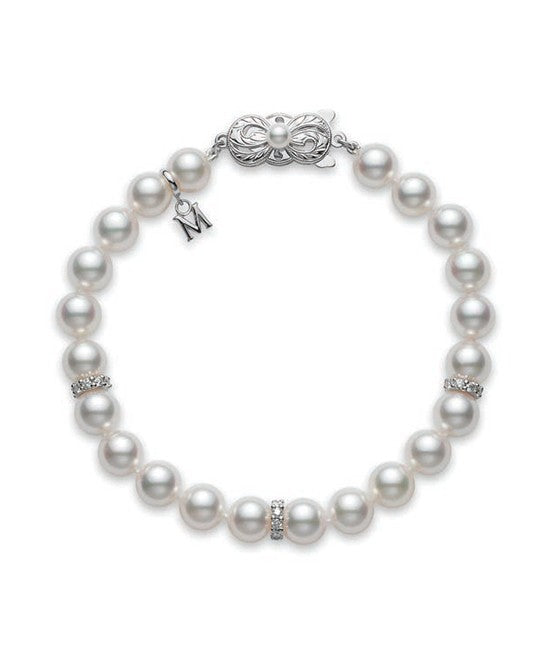 Mikimoto Akoya Pearl Bracelet with Diamonds
