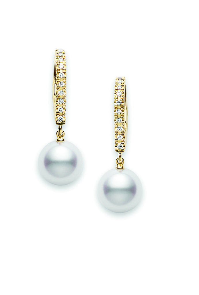 Mikimoto 18 karat yellow gold 7.50mm A+ quality pearl and diamond drop earrings