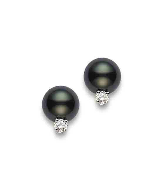 Mikimoto Black South Sea Pearl Stud Earrings with Diamonds
