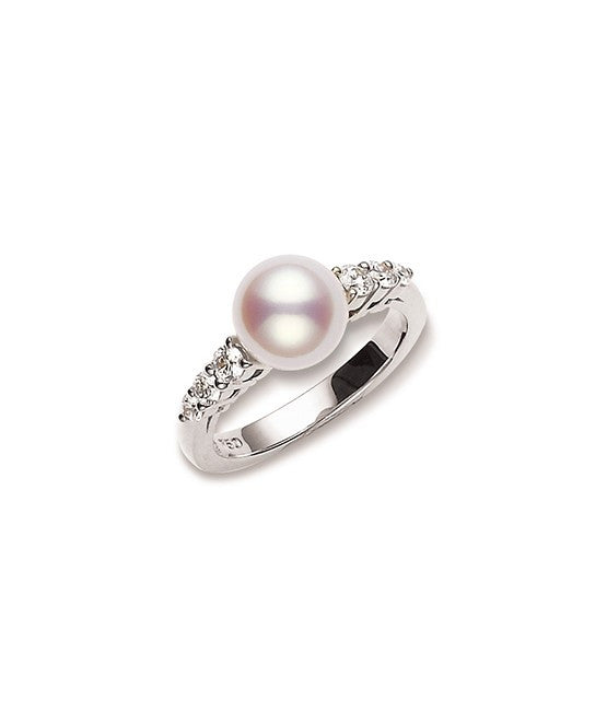 Mikimoto 'Morning Dew' Pearl and Diamond Ring