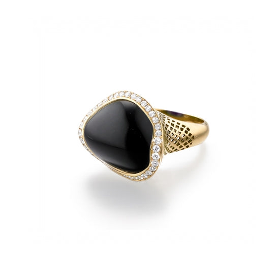 Ray Griffiths 18k Yellow Gold Asymmetric Onyx Ring