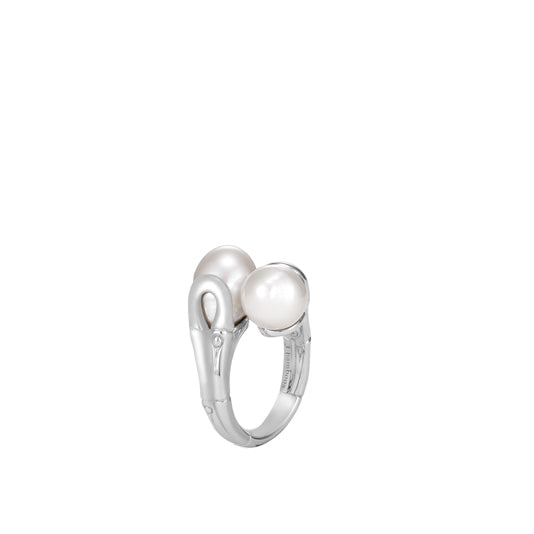 John Hardy Bamboo Silver Bypass White Pearl Ring