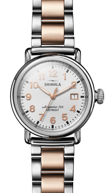 Shinola Runwell 36mm Two-Tone Watch with White Dial