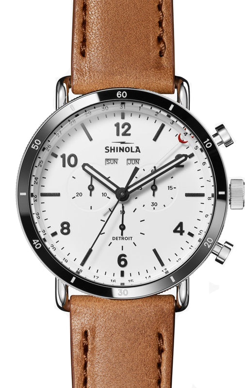 Shinola Canfield Sport 45mm Watch with White Dial