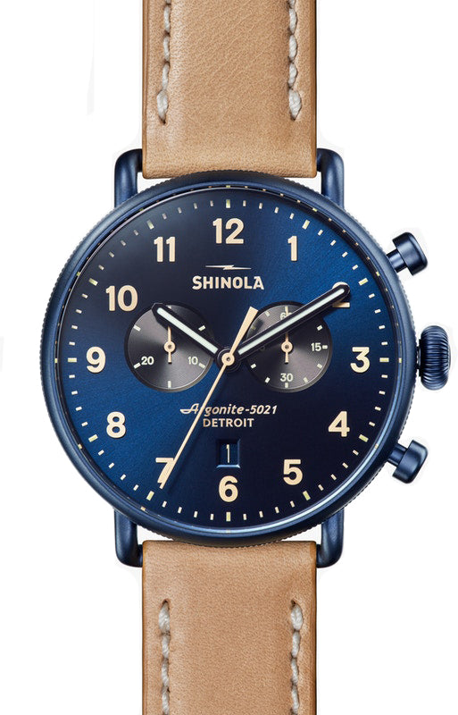 Shinola Canfield Chrono 43mm Watch with Blue Dial