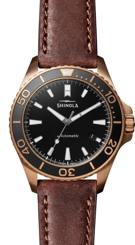Shinola 'Bronze Monster' 43mm Watch with Black Dial