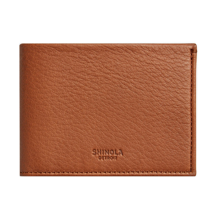 Shinola Slim Bi-Fold Bourbon Leather Wallet