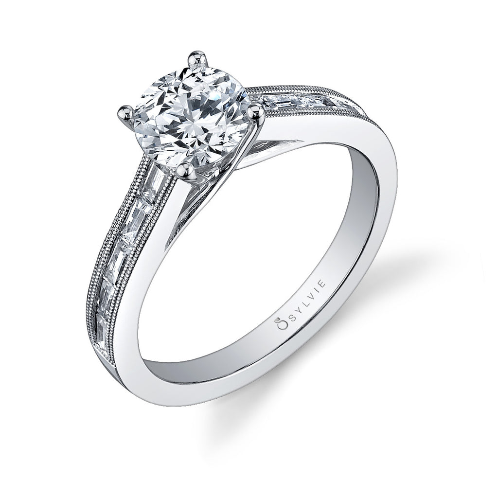 Sylvie 14k White Gold Channel Set Ring with Baguette Diamonds and Millgrain