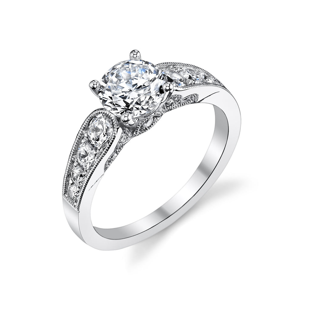 Sylvie 14k White Gold Ring with 18 Round Diamonds