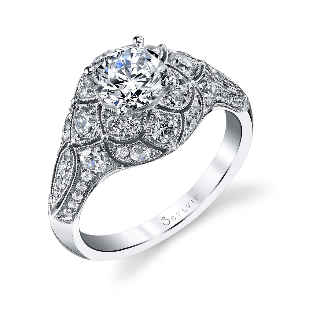 Sylvie 14k White Gold Ring with 52 Round Diamonds