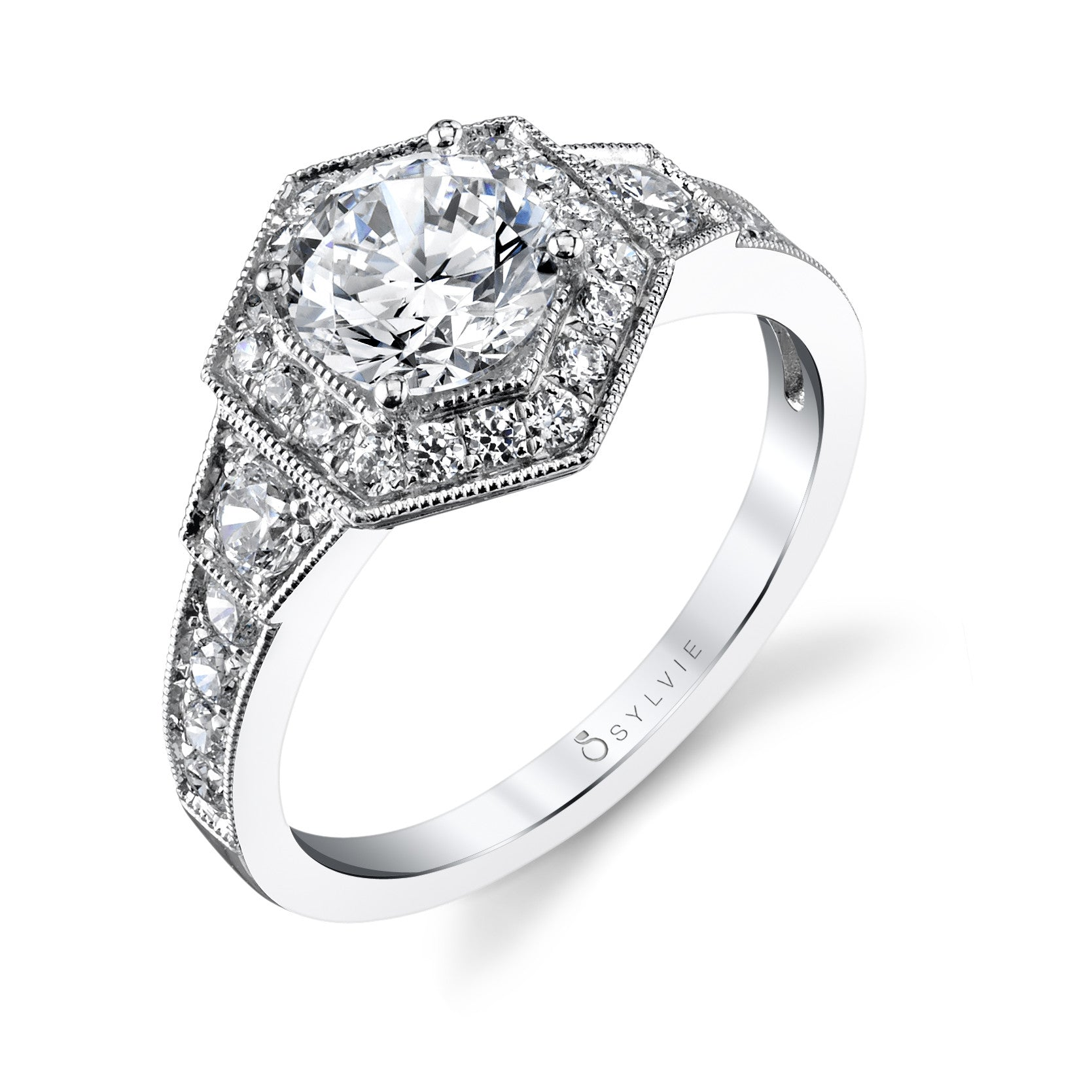 Sylvie 14k White Gold Hexagon Halo Ring with Diamonds