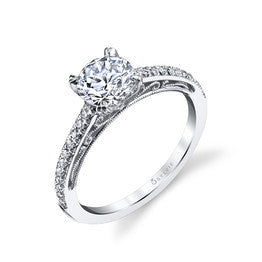 Sylvie 14K Filigree Scroll Diamond Engagement Ring