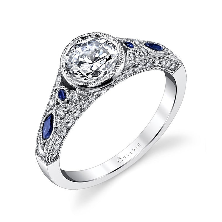 Sylvie 14K Vintage Bezel Engagement Ring with Blue Sapphires