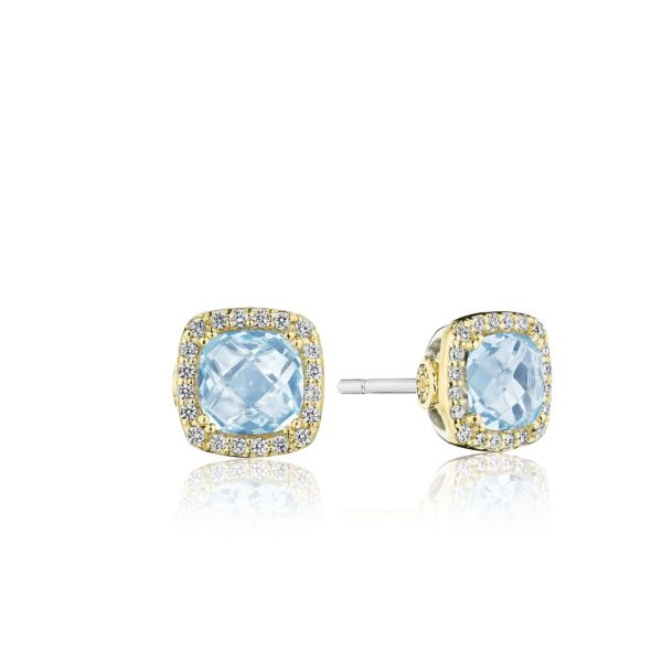Copy of Tacori Crescent Crown Earrings with Diamonds and London Blue Topaz