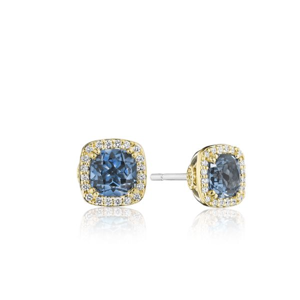 Tacori Crescent Crown Earrings with Diamonds and London Blue Topaz