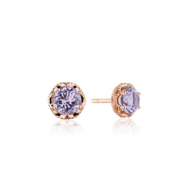 Tacori Crescent Crown Rose Amethyst Stud Earrings