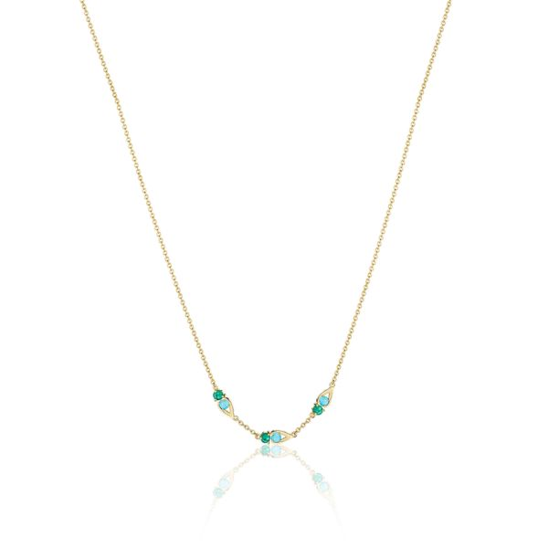 Tacori 'Open Crescent' Turquoise and Green Onyx Necklace