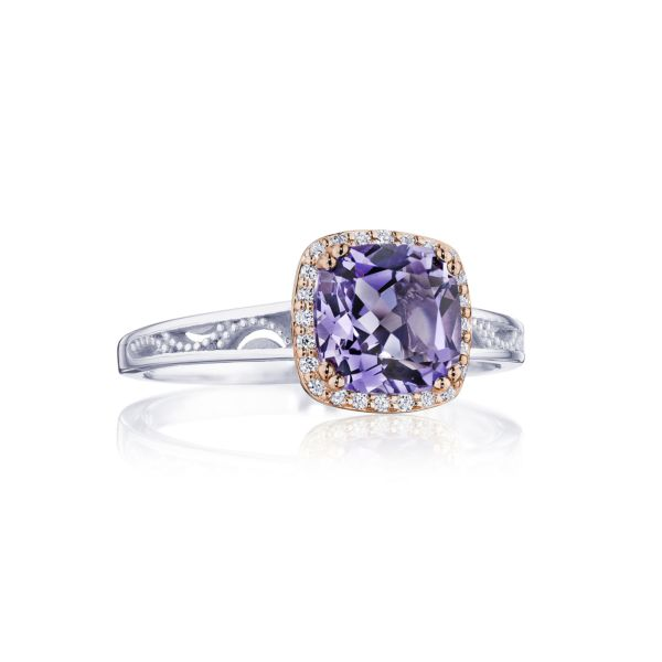 Tacori Crescent Crown Amethyst Ring with Diamonds